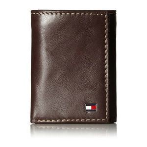 Brand New Genuine Leather Tommy Hilfiger Men/'s Logan Trifold Tan Wallet